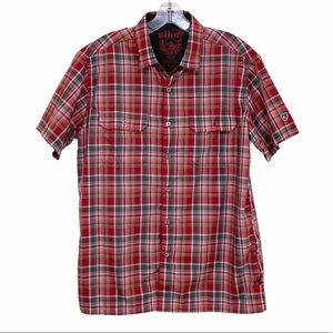 Kuhl Eluxur Red Gray Plaid Button Front Shirt M